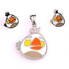 Бижута за деца ANGRY BIRDS Бялото птиче, комплект обеци и висулка, медицинска стомана, 316L S207
