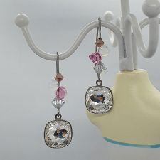 Обеци BLINK с кристали Swarovski® FANTASY CUSHION, Бял, Код PR E684A