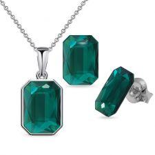 Бижута декорирани със SWAROVSKI® GRAPHIC Emerald, Зелен, Колие и Обеци 14мм, Код PR S585