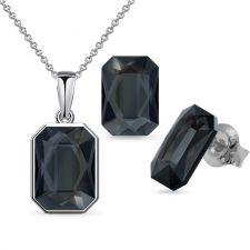 Бижута декорирани със SWAROVSKI® GRAPHIC Silver Night** AB Crystal-Черен, Колие и Обеци 14мм, Код PR S586