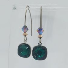 Комплект бижута BLINK с кристали SWAROVSKI® FANTASY CUSHION, Emerald, Зелен цвят, Колие и Обеци, Код PR S699A