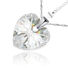 Колие с кристали Swarovski® HEART Crystal 14 мм, Бял цвят, Код PR N409