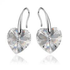 Обеци с кристали Swarovski® HEART Crystal 10 мм, Бял цвят Код PR E409B
