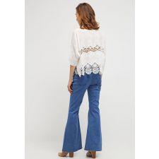 Дамска блуза CREAM с английска дантела и къс ръкав, Размер XXL-XXXL, Код BL0064