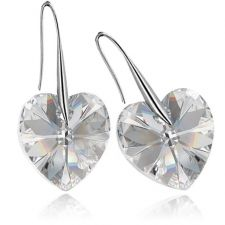 Обеци с кристали Swarovski® BIG HEART Crystal 14 мм, Бял, Код PR E409