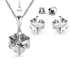 Бижута  декорирани със SWAROVSKI® CUBE Crystal, Бял, Колие и Обеци на винт, Код PR S583A