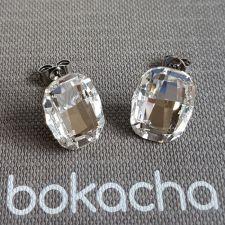 Обеци с кристали Swarovski® GRAPHIC на винт, Crystal - Бял цвят, Код PR E641