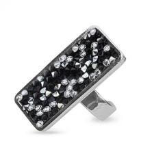 Пръстен с кристали Swarskovski® CRYSTAL ROCK, Silver Night** AB - Черен цвят, Код PR R604A