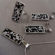Бижута с кристали Swarovski® CRYSTAL ROCK Silver Night** AB - Черен, Колие, Обеци и Пръстен, Код PR S604 - 3