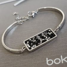 Гривна с кристали Swarovski® CRYSTAL ROCK Silver Night** AB - Черен, Код PR B604B