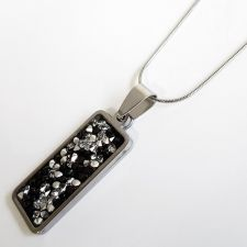 Колие с кристали Swarovski® CRYSTAL ROCK, Silver Night** AB - Черен, Код PR N604