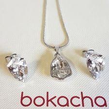 Бижута с кристали SWAROVSKI® SLIM TRILLIANT Crystal, Бял цвят, Колие с обеци на винт, Код PR S631