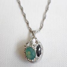 Колие с кристали SWAROVSKI® DESIGN OVAL Pacific opal- зелен цвят, Код PR N656
