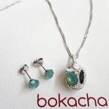 Бижута с кристали SWAROVSKI® DESIGN OVAL Pacific opal- зелен цвят, Код PR S656