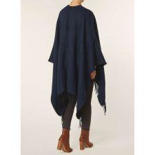 Красиво дамско пончо DOROTHY PERKINS от мека материя в мастилен син цвят,  Код JA0005