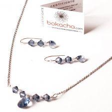 Бижута с кристали Swarovski® PEAR STRING Denim Blue - Син, Колие и Обеци, Код PR S417