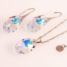 Обеци с кристали Swarovski® PEAR DROP 16мм Crystal AB, Бял, Код PR E101A
