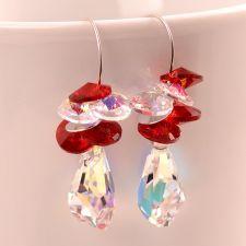 Обеци с кристали Swarovski® POLYGON STRING Crystal Aurore Boreale** AB, Бял, Код PR E404