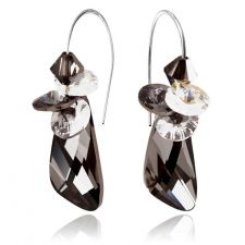 Обеци CRYSTAL SWAROVSKI® WING STRING 23мм Silver Night** AB - Черен, Код PR E401