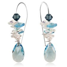 Обеци SWAROVSKI® PEAR DROP STRING Aquamarine AB - Светло син, Код PR E402