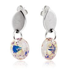 Обеци с кристали Swarovski® RIVOLI STRING Crystal Aurore Boreale** AB, Бял, Код PR E407