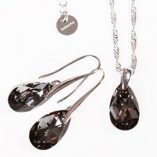 Бижута с кристали Swarovski® PEAR DROP Silver Night** AB - Черен, Колие и Обеци, 16мм, Код PR S108A