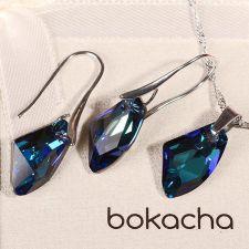 Бижута с кристали Swarovski® GALACTIC Bermuda Blue BBL, Син, Колие и Обеци, 19мм, Код PR S362