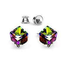 Обеци, декорирани с кристали SWAROVSKI® CUBE 6мм Vitrail Medium** VM, Зелен, Код PR E571