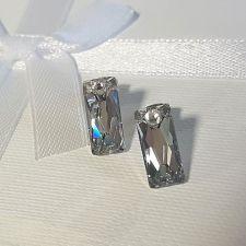 Обеци с кристали SWAROVSKI® QUEEN Baguette 13,5мм, CAL V SI - Бял цвят, Код PR E563