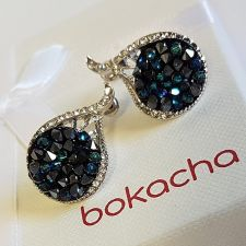 Обеци на винт GRACE с кристали SWAROVSKI® CRYSTAL ROCK 15мм Bermuda Blue BBL - Син, Код PR E565