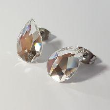 Обеци на винт с кристали SWAROVSKI® PEAR 14мм, Crystal, Бял, Код PR E573