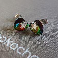 Обеци STAR, украсени със SWAROVSKI® кристали HEART Vitrail Medium** VM, Зелен цвят, Код PR E575