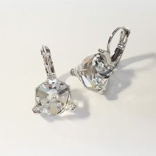 Обеци украсени със SWAROVSKI® CUBE 8мм Crystal, Бял, Код PR E582