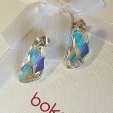 Обеци STAR, украсени с кристали Swarovski® WING 23мм Crystal Aurore Boreale** AB, Бял, Код PR E581