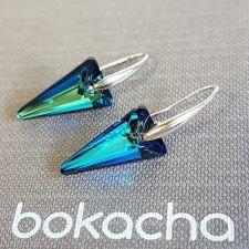 Обеци с кристали Swarovski® SPIKE 18 мм, Bermuda Blue BBL - Син цвят, Код PR E615
