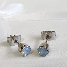 Обеци с кристали Swarovski® CHATON, 4 мм, Air Blue Opal, Син цвят, Код PR E617