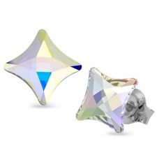 Обеци украсени със SWAROVSKI® STARLET 6мм Crystal Crystal AB, Код PR E589