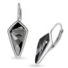 Обеци украсени със SWAROVSKI® KITE Silver Night** AB - Черен, с английско закопчаване 14 мм, Код PR E607B