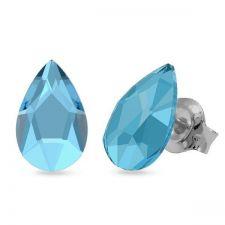 Обеци украсени със SWAROVSKI® PEAR 8мм, Aquamarine AB - Светло син цвят, Код PR E596