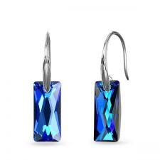 Обеци с кристали SwarovskiI® QUEEN Baguette 13,5мм, Bermuda Blue BBL, Син, Код PR E608