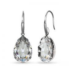 Висящи обеци с кристали SWAROVSKI® PEAR 14мм, Crystal, Бял, Код PR E569