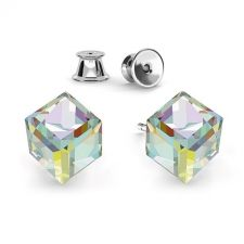 Обеци с кристали Swarovski® CUBE 6мм Crystal AB, Бял цвят, Код PR E418