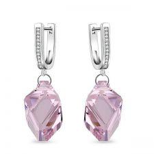 Обеци с кристали Swarovski® CUBIST 22мм Light Amethyst, Розов цвят, Код PR E498