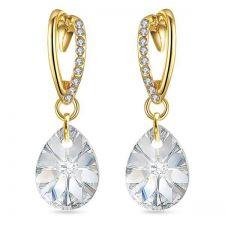 Обеци VALENTINE SWAROVSKI® MINI PEAR 12мм Crystal, Бял, Код PR E473