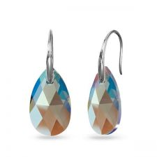 Обецис кристали Swarovski® PEAR DROP Black Diamond 16мм, Shimmer Ефект, Код PR E603