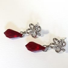 Обеци FLOWER DREAM SWAROVSKI® TEAR 15мм Light Siam АВ, Червен, Код PR E471