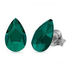Обеци украсени със SWAROVSKI® PEAR 8мм, Emerald - Зелен цвят, Код PR E597