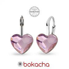 Обеци РОМАНТИЧНА ЛЮБОВ с кристали Swarovski® HEART, Rosaline- Розов, Код PR E678