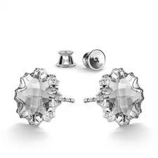 Обеци украсени със SWAROVSKI® JELLY FISH Crystal - Бял цвят, Код PR E588