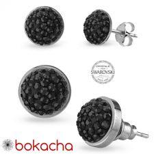 Обеци на винт с кристали Swarovski® PAVE PURE 6мм HEM - Черен, Неръждаема Стомана, Код PR E671